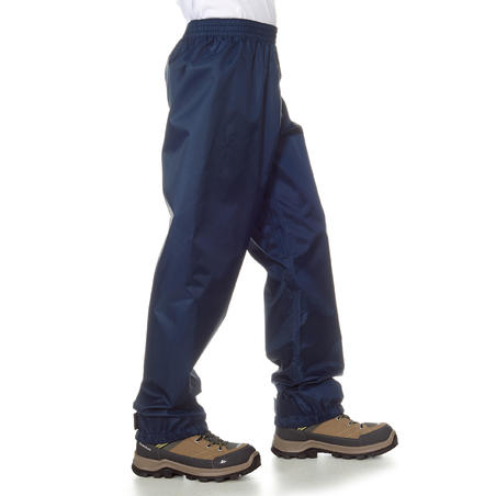 Kids' Waterproof Hiking Over Trousers - MH100 Aged 2-6 - Navy Blue