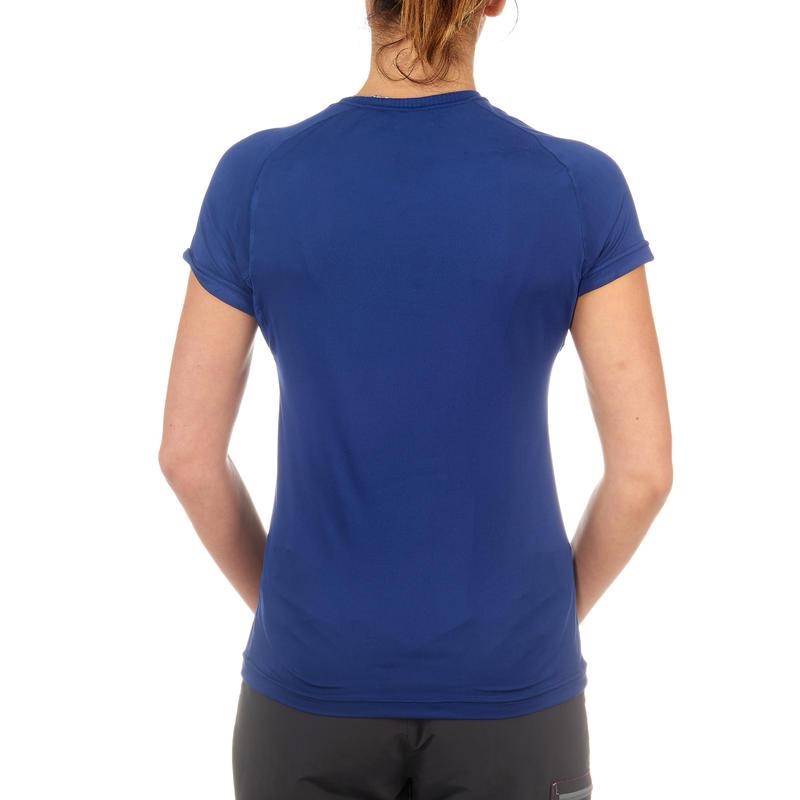 Camiseta manga corta senderismo Techfresh 50 mujer azul