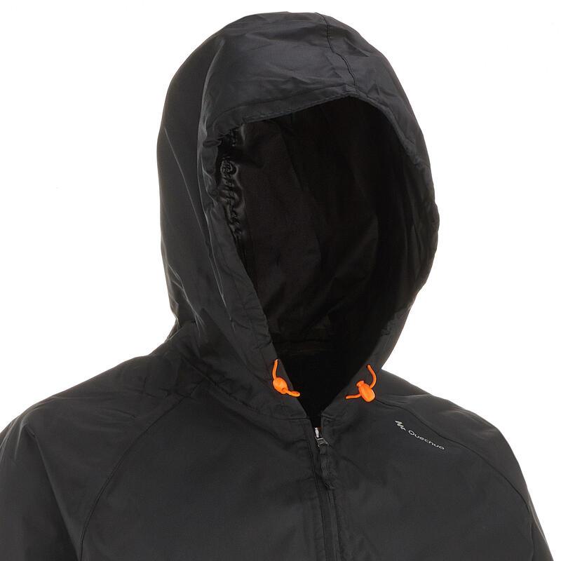 Men's Nature Hiking Raincoat - NH100 Raincut Half Zip- Black