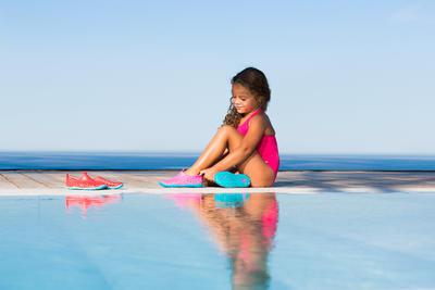 حذاء السباحة للفتيات Aquadots - أزرق وردي