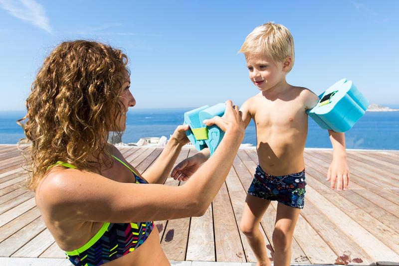 Traje de baño de natación bebé niño boxer titou all fish azul