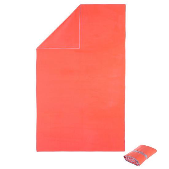 Zeer compacte microvezel handdoek cinablauw maat L 80 x 130 cm - 717043
