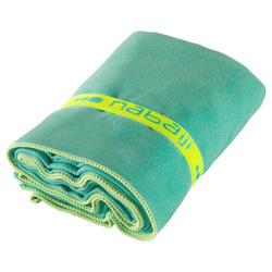Zeer compacte microvezel handdoek cinablauw maat L 80 x 130 cm - 717056
