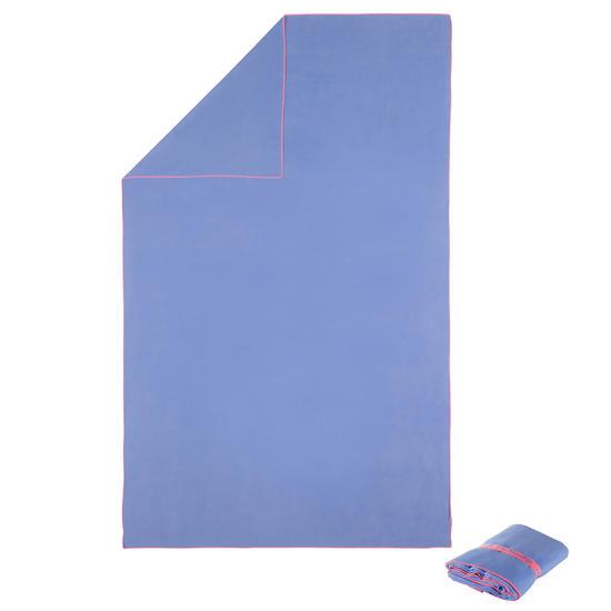 Zeer compacte microvezel handdoek cinablauw maat L 80 x 130 cm - 717057