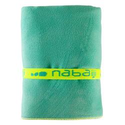 Zeer compacte microvezel handdoek cinablauw maat L 80 x 130 cm - 717062