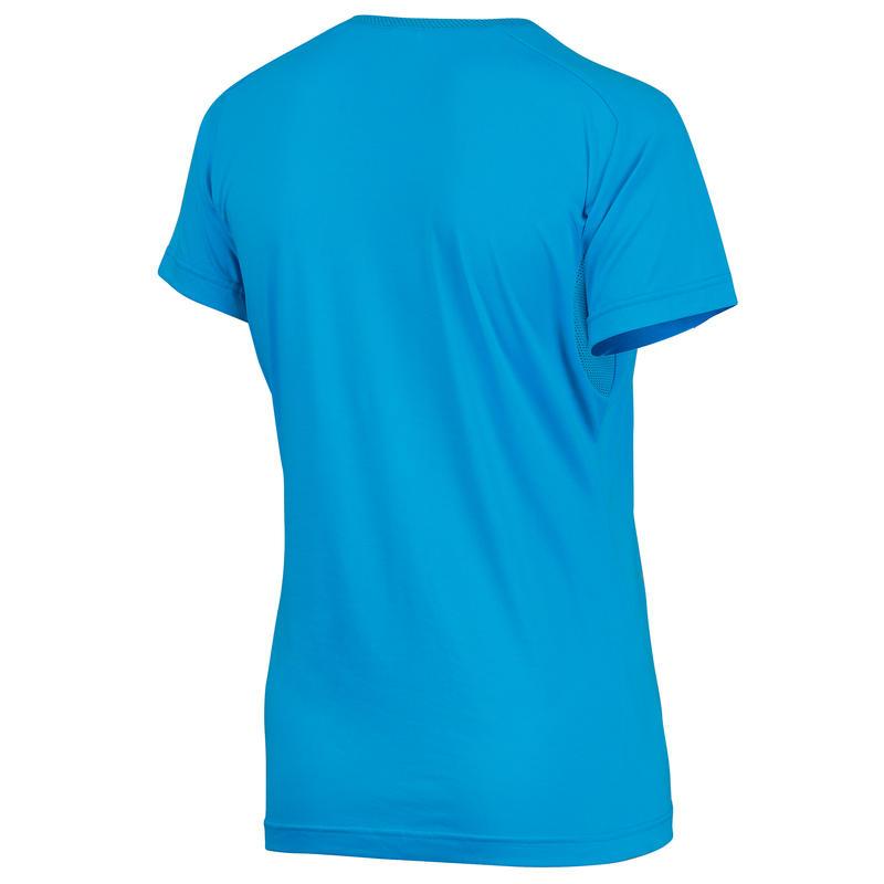 Camiseta manga corta senderismo Techfresh 50 mujer azul turquesa