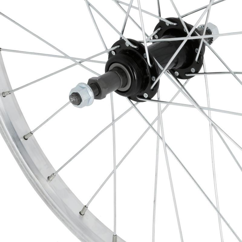 """Kids Wheel 24"""" Rear Single Wall Rim Freewheel - Silver"""