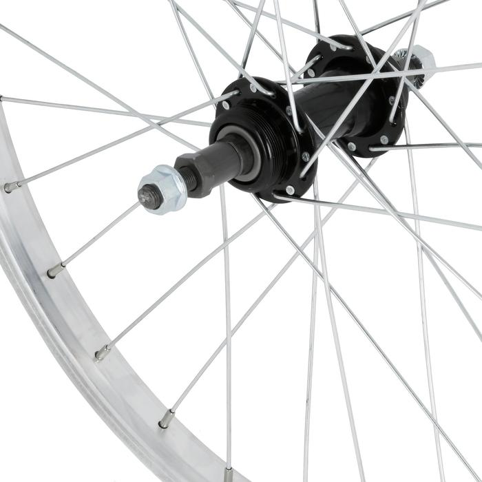 """Achterwiel voor kinderfiets 24"""" enkelwandig met freewheel zilver"""