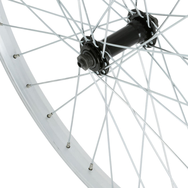 "Kids' Bike Wheel 24"" Front Single Wall Rim - Silver"