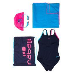 Schwimm-Set Leony+ Mädchen blau: Badeanzug, Brille, Badekappe, Handtuch, Tasche