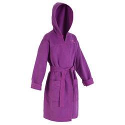 Albornoz de microfibra violeta junior, ultracompacto, con capucha y cinturón.
