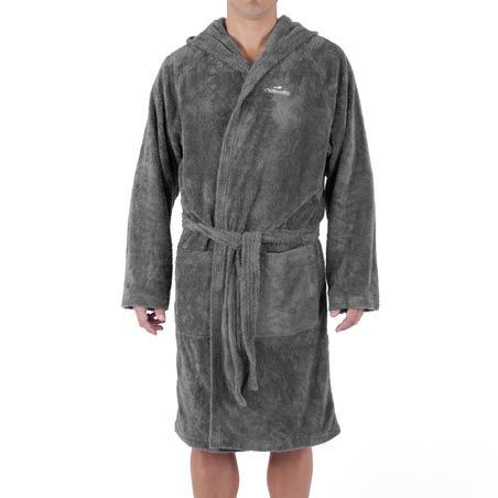 Adult soft microfibre bathrobe with hood pockets and belt - Dark Grey