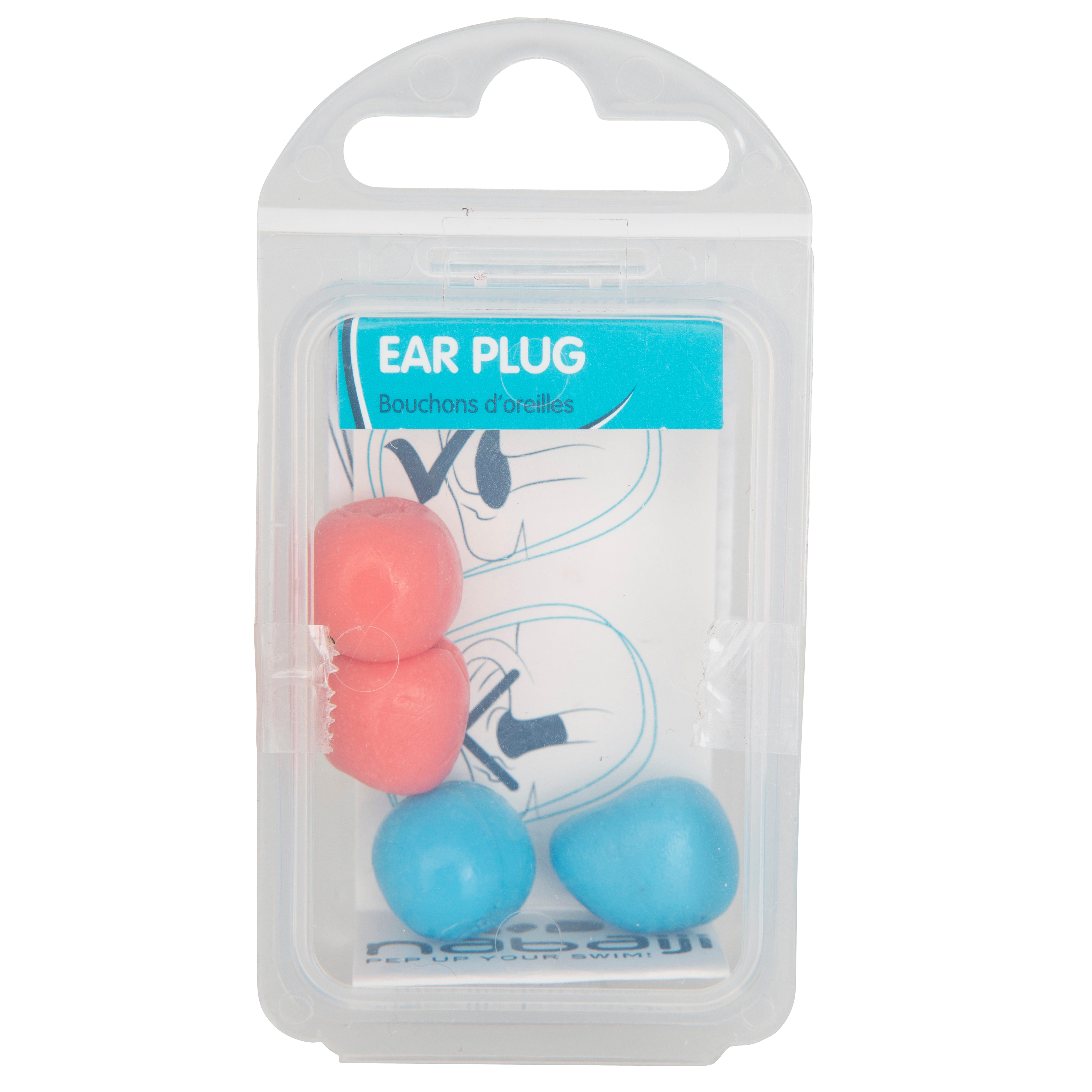 MALLEABLE THERMOPLASTIC SWIMMING EAR PLUGS BLUE AND PINK