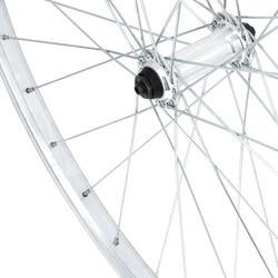 """Voorwiel voor hybridefiets 28"""" enkelwandig V-brake Quick and Release grijs"""