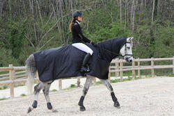 Waterdicht paardendeken Protect'Rain ruitersport paard en pony zwart - 725851