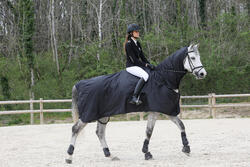 Waterdicht paardendeken Protect'Rain ruitersport paard en pony zwart - 725854