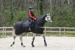 Waterdicht paardendeken Protect'Rain ruitersport paard en pony zwart - 725856