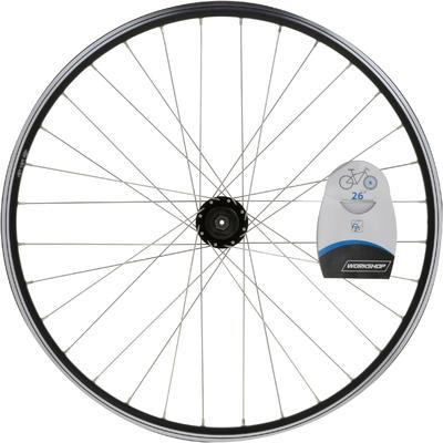 "Mountain Bike Wheel 26"" Front Double-Walled Rim Disc/V-brake - Black"