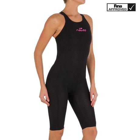 1880fecd66bbd JET Women's open back PU swimming suit - Black | Nabaiji