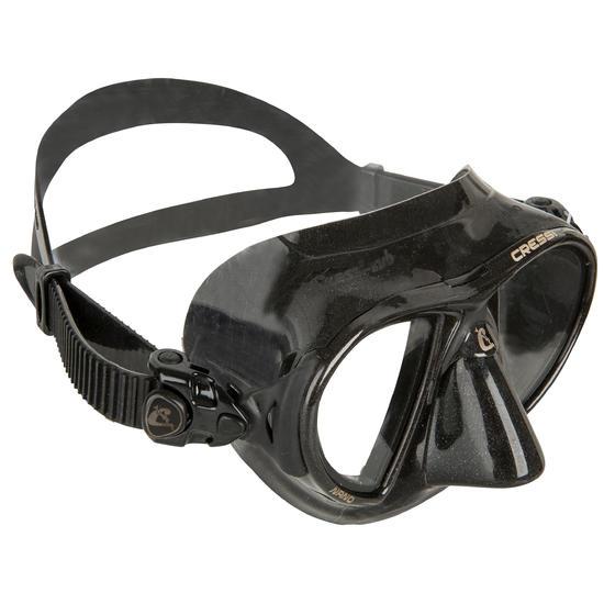 Duikbril Nano Black voor harpoenvissen en vrijduiken, zwart - 730379