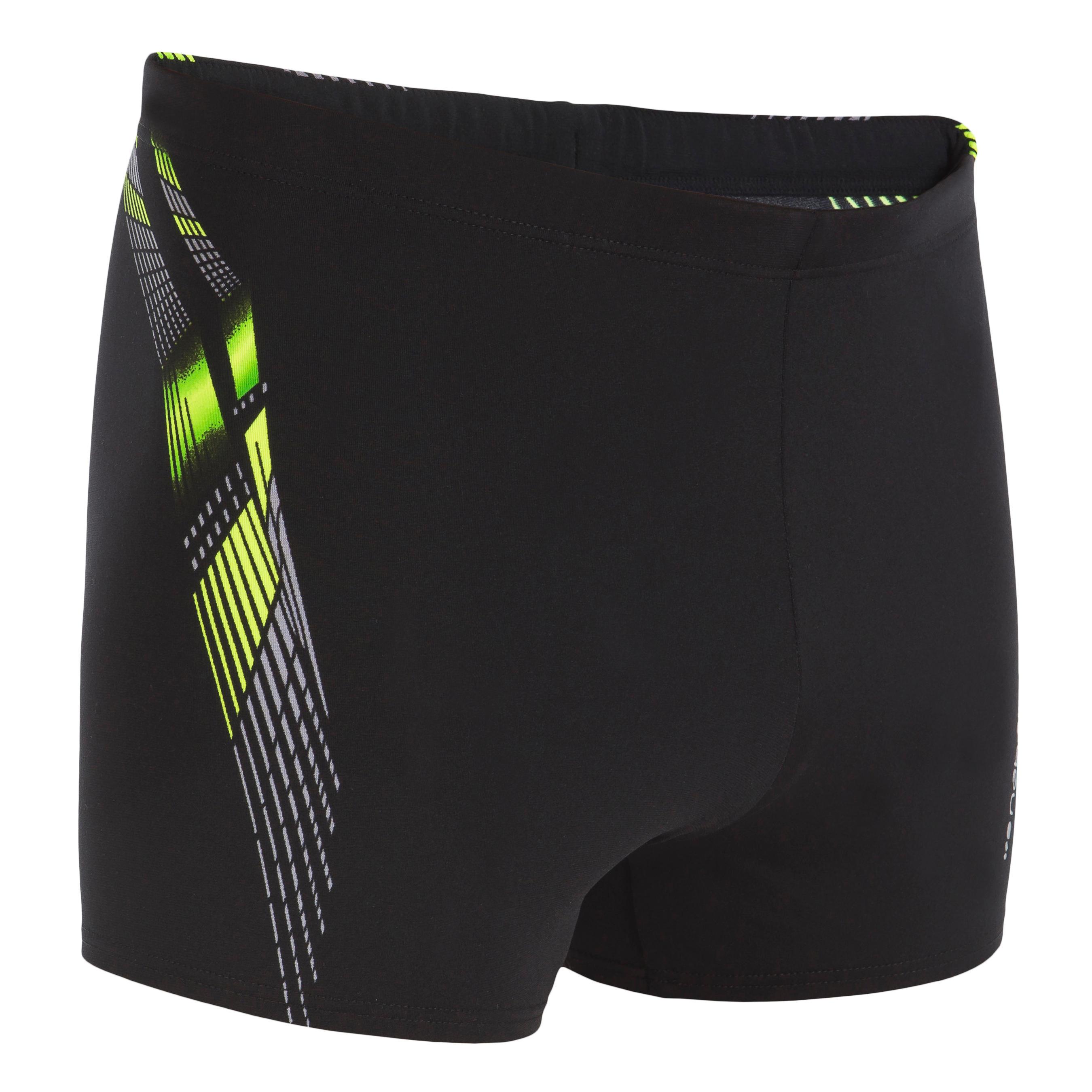 B-Fit Men's Boxer Swim Shorts - Adi Black Yellow