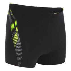 BLACK YELLOW 500 MEN'S ADI PRINT SWIM TRUNKS