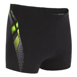 Zwemboxer voor heren 500 Print Adi zwart geel