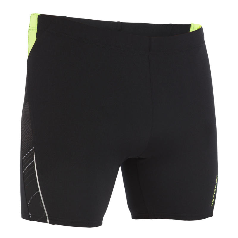 MEN LONG SWIMMING BOXER SHORTS - BLACK YELLOW