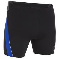 MEN'S LONG BOXER SWIM SHORTS 500 - BLACK BLUE