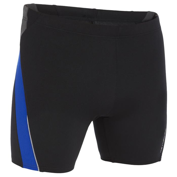 BLACK BLUE 500 MEN'S LONG SWIMMING BOXER SHORTS