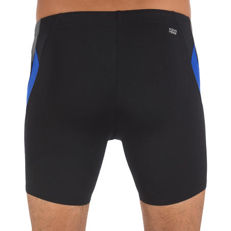 MEN'S LONG BOXER SWIM SHORTS 500 - BLACK BLUE
