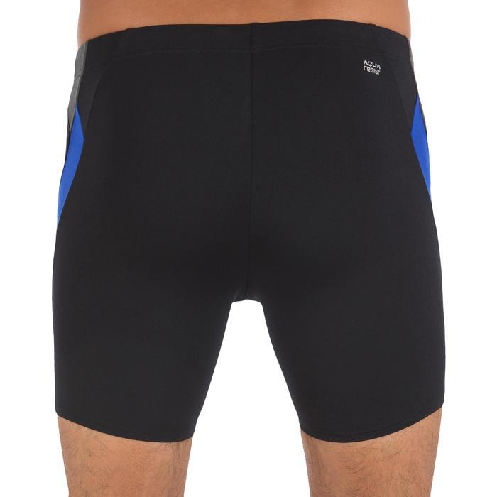 男款長版四角泳褲500 - 黑藍色