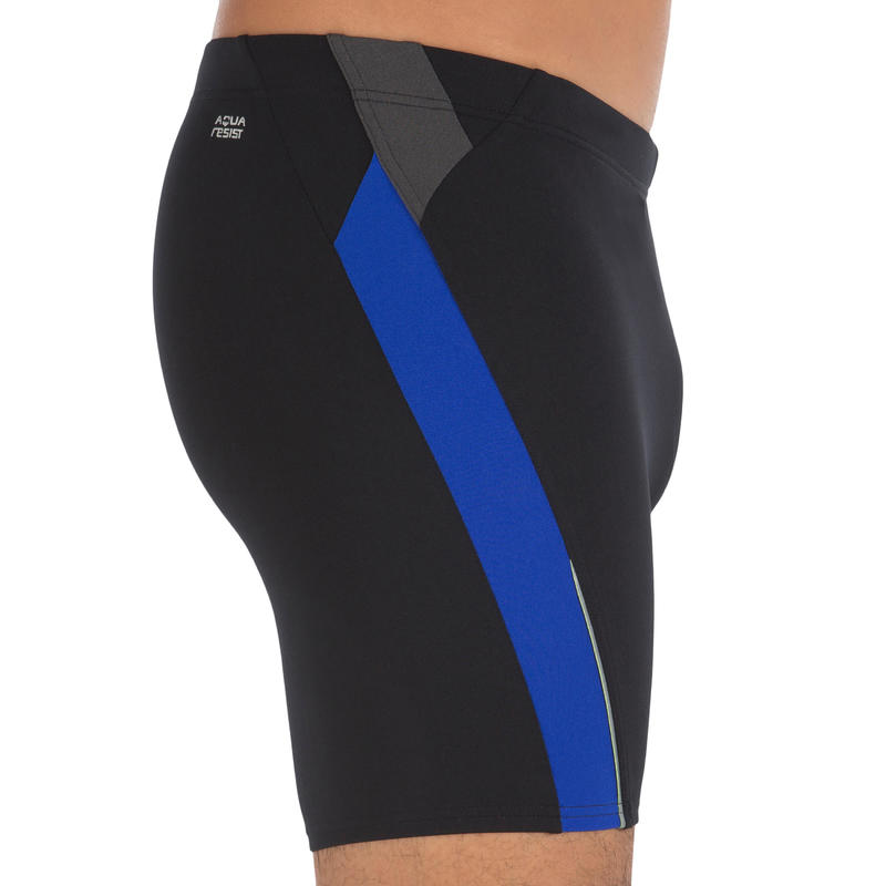 BLACK BLUE 500 MEN'S LONG SWIMMING BOXER SHORTS