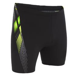 500 MEN'S LONG BOXER PRINT SWIM SHORTS - ADIL BLACK/YELLOW