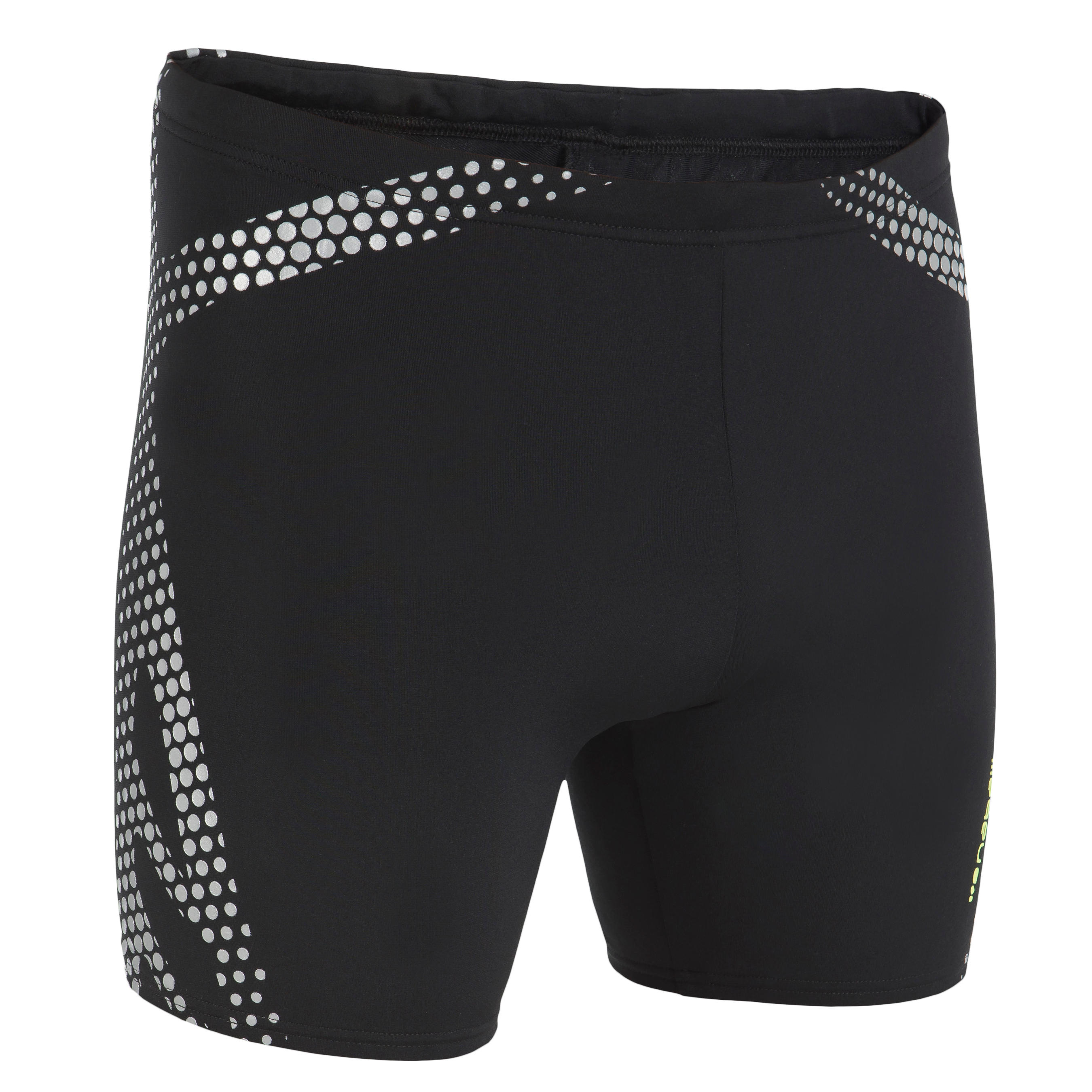 500 MEN'S LONG BOXER SWIMMING SHORTS BLACK SILVER