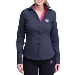 Damesblouse Performer ruitersport grijs/roze - 73388