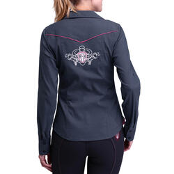 Damesblouse Performer ruitersport grijs/roze - 73389