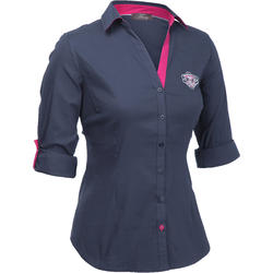 Damesblouse Performer ruitersport grijs/roze - 73390