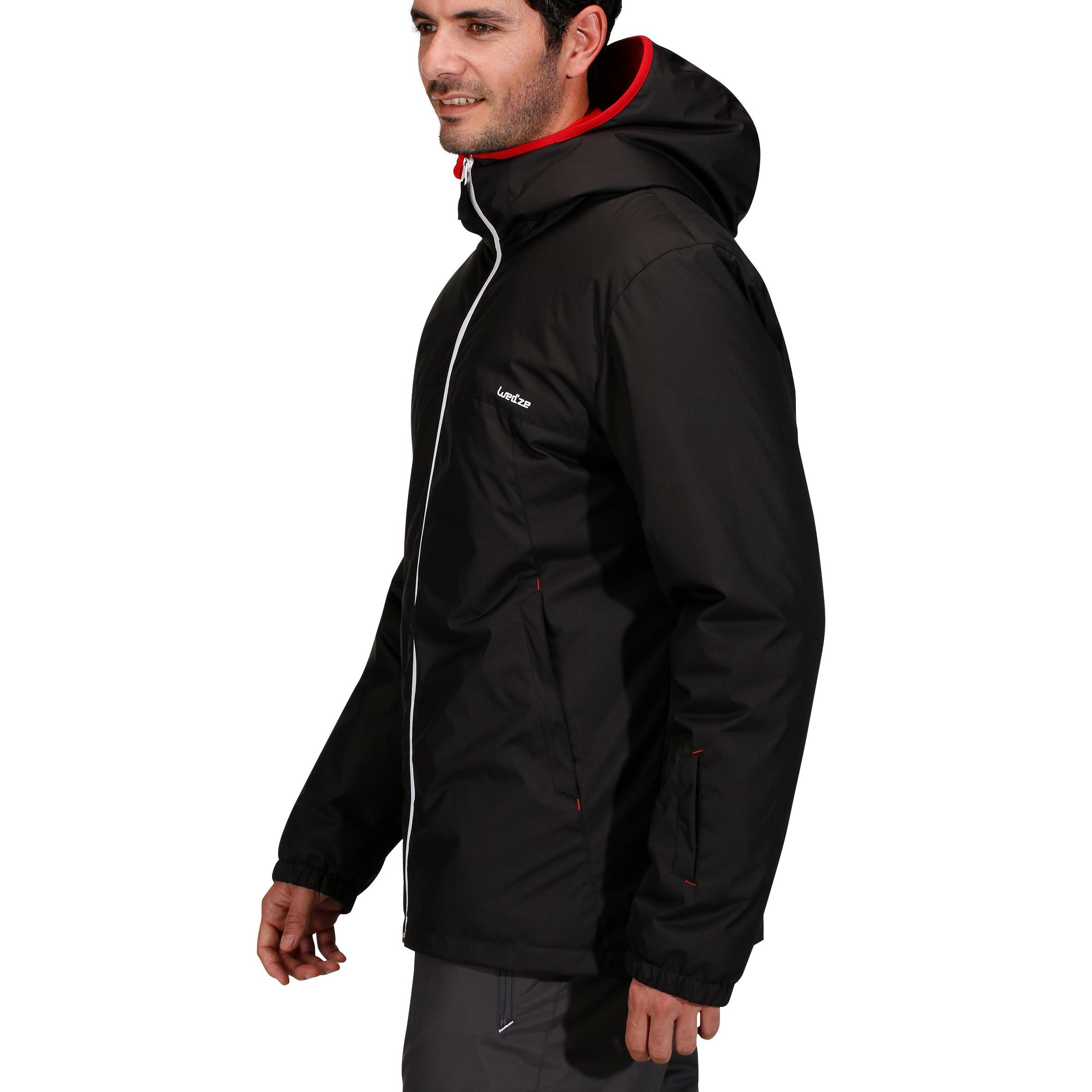 เสื้อแจ็คเก็ตผู้ชายสำหรับใส่เล่นสกีลงเขารุ่น Ski-P 100 (สีดำ)