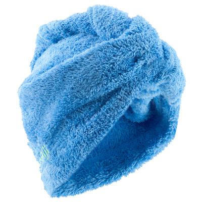 Serviette cheveux bleue cina en microfibre douce