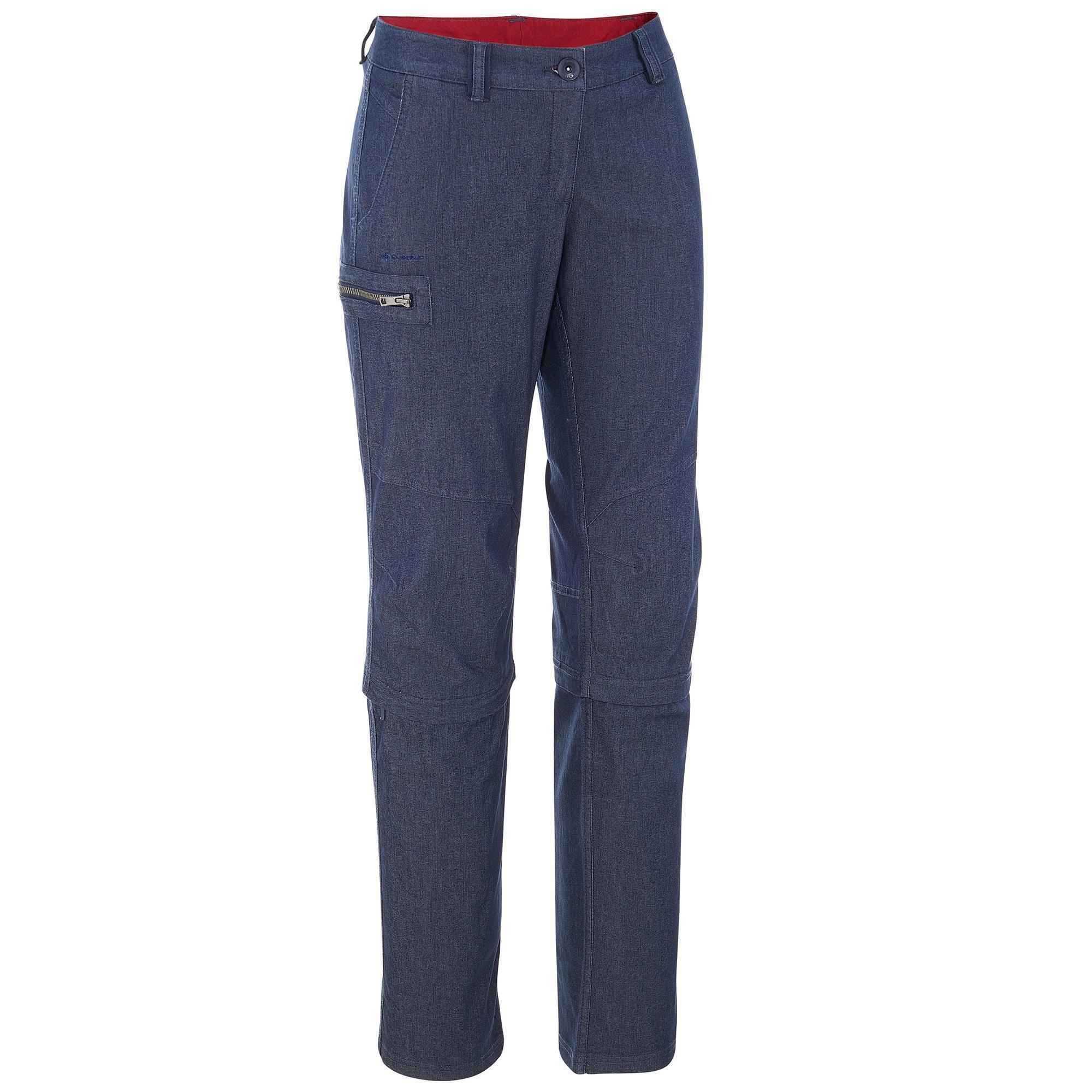 Bleu Trekking Pantalons Denim Modulable Femme Travel100 Shorts Pantalon E29WbeDHIY