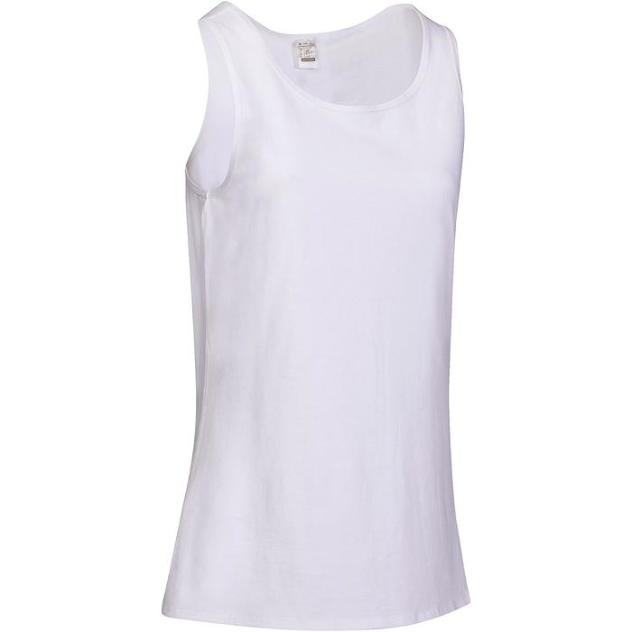 a7aa90a21b7 Camiseta Sin Mangas Tirantes Gimnasia Pilates Domyos 100 Mujer Blanco