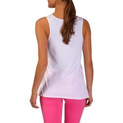 Topje voor pilates en lichte gym dames 100 regular fit wit