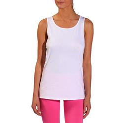 Camiseta sin mangas 100 Pilates y Gimnasia suave mujer blanco
