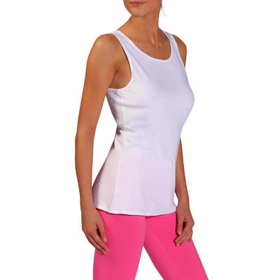 Camiseta manga sisa suave 100 Pilates y Gimnasia mujer blanco