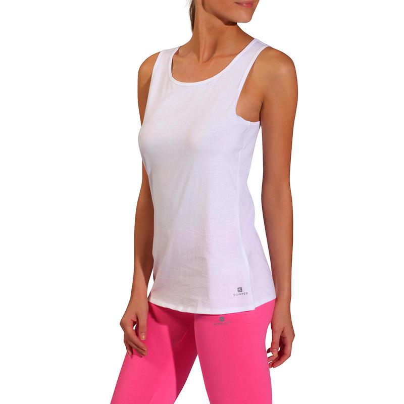 Women's Regular-Fit Pilates & Gentle Gym Sport Tank Top 100 - White