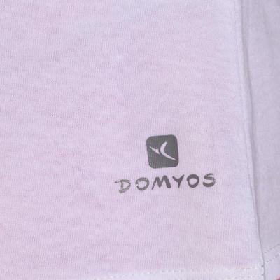 تيشرت الجمنازيوم وتمارين البيلاتس بدون أكمام للسيدات DOMYOS - أبيض