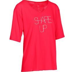 T-shirt manches courtes fluide SHAPE+ fitness femme rouge framboise