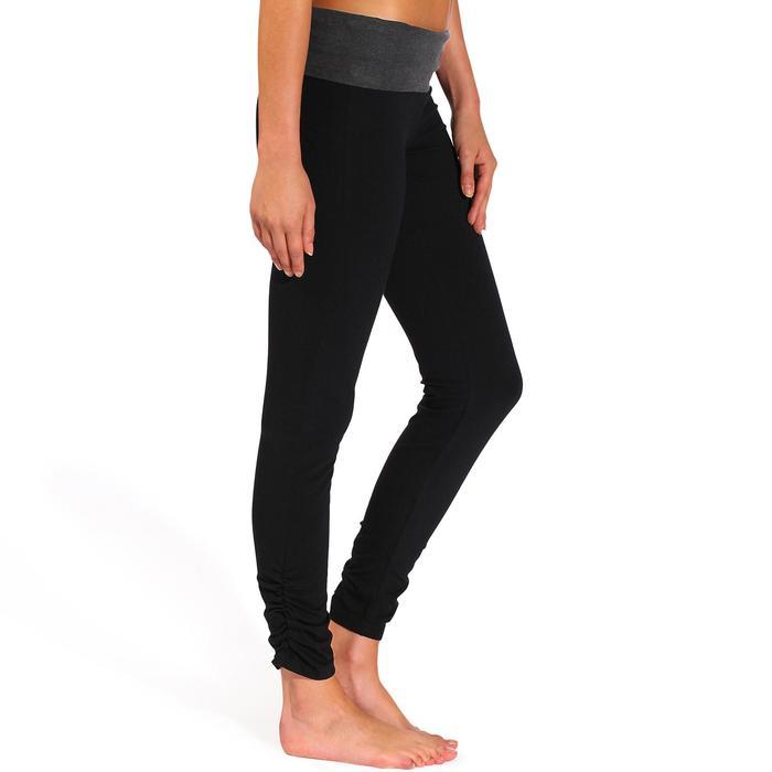 Dameslegging voor zachte yoga, biokatoen zwart / gemêleerd grijs