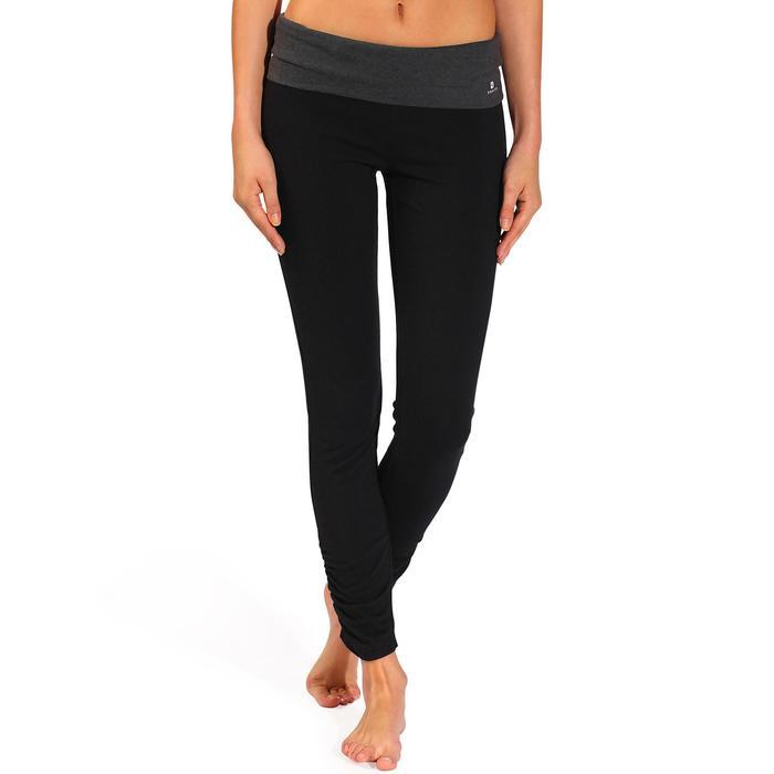 Legging yoga femme coton issu de l'agriculture biologique noir / gris chiné - 737025
